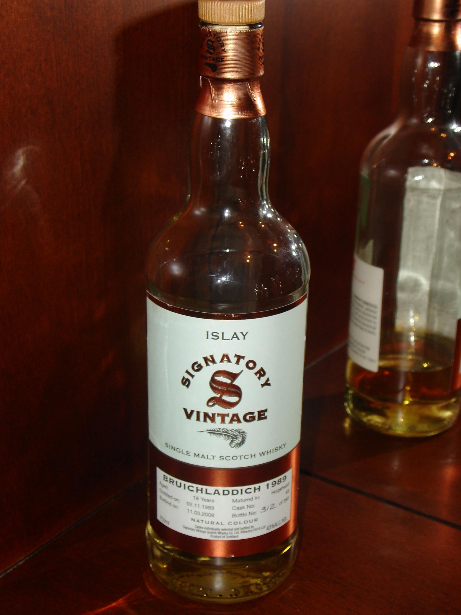 BRUICHLADDICH 1989, Cask #68 Bottle #312 of 385